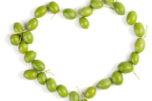 Heart shaped olives, above view.