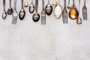 Background with vintage silverware
