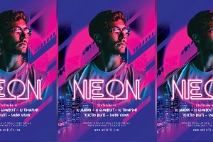 Neon Dj Party Flyer