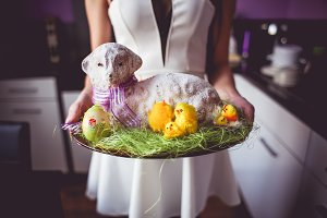 Girl with Baked Easter Lamb