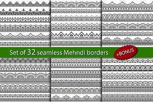 Set of 32 seamless Mehndi borders