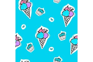 Seamless pattern with ice-cream, cupcake and heart shape on a blue background. Vector cartoon summer illustration.