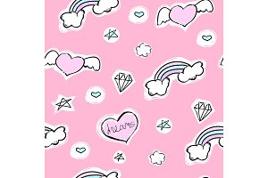 Seamless pattern with hearts, rainbow and stars on a pink background. Vector cartoon illustration with diamond.