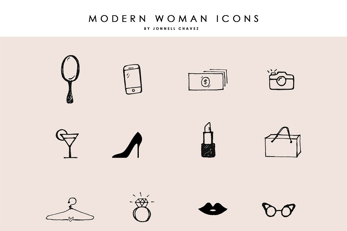 Modern Femme Hand Drawn Icons