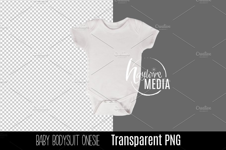 0bf8a2e56 PNG Cutout Blank White Baby Onesie ~ Product Mockups ~ Creative Market