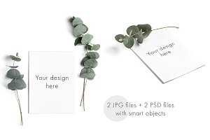 Minimal greeting card mockup set