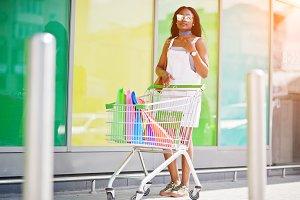 African american girl shopping