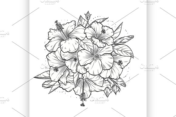 Vintage Template With Hibiscus