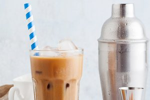 Iced coffee with milk, beautiful and
