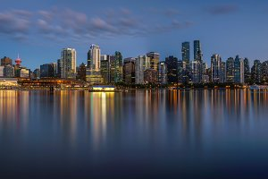 Night skyline of Vancouver downtown from Stanley Park
