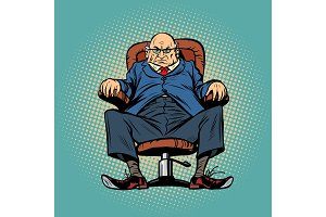 Old boss in the chair