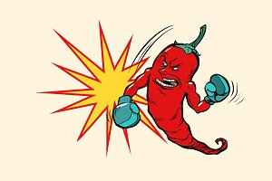 red chili pepper boxer character