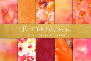 Orange Watercolor - Scrapbook Papers