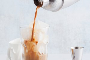pour from a shaker Coffee frappe in