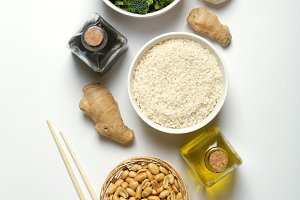Chinese food raw ingredients, vegetables and nuts on the white background