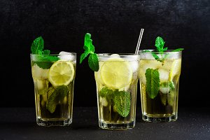 iced green tea with lemon and fresh