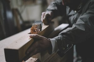 Man working in carpentry workshop
