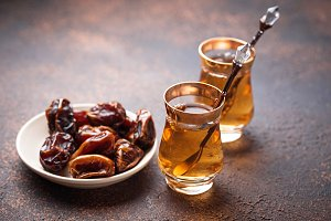 Traditional arabic tea and dry dates