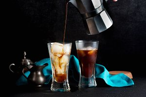 Pour milk on Iced coffee , beautiful