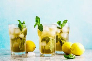 Lemonade or mojito cocktail with lem
