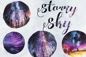 Watercolor Starry Sky Clipart Set