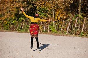 Black girl in autumn