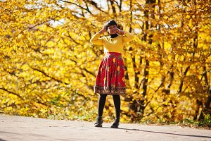 Black girl in autumn