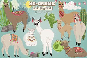 No Drama Llamas Graphics Set