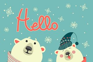 Two friends, polar bears say hello