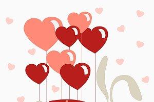 Rabbit flying on heart shaped baloon