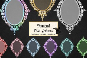 Diamond Oval Frames Clipart