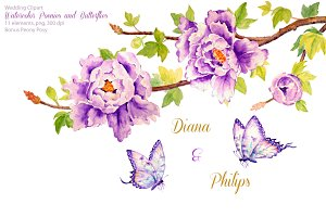 Wedding Purple Peonies & Butterflies