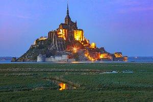 Night Mont Saint Michel, Normandy, France