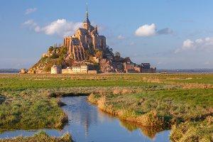 Mont Saint Michel at sunset, Normandy, France
