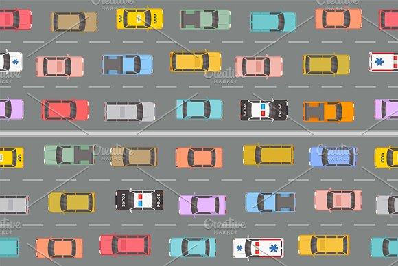 Highway Traffic Jam Top View