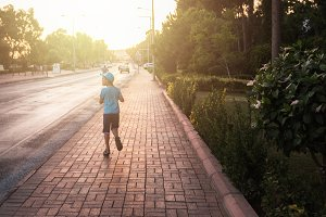 Kid boy walking