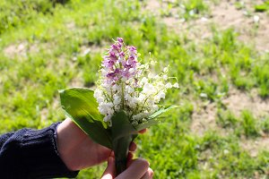 Lily of the valley bouquet in hand