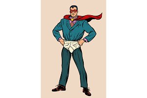 Funny businessman superhero in shorts