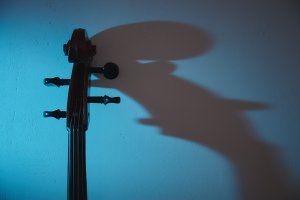 Cello in dark room