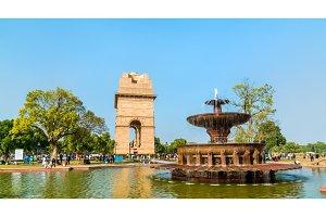 Fountain near the India Gate, a war memorial in New Delhi, India