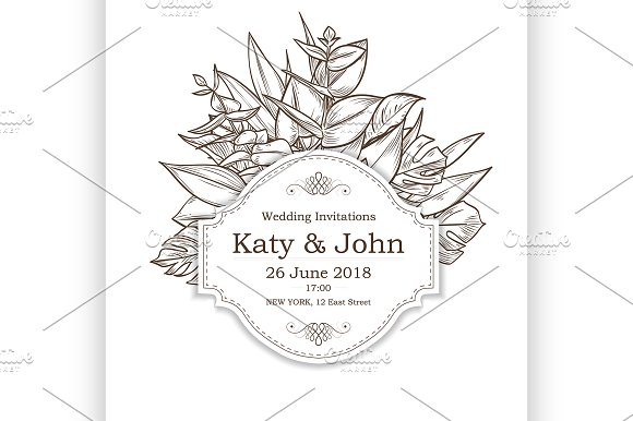 Vector Invitation With Leaves Flower