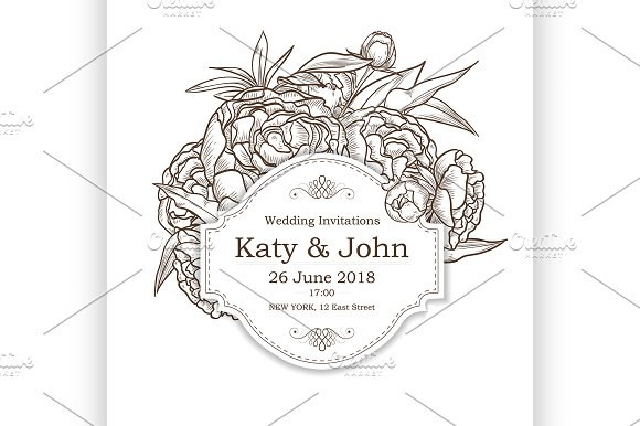 Vector Invitation With Peony Flowers