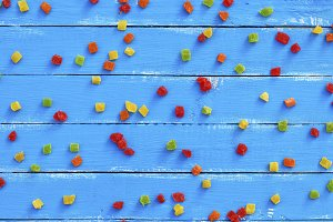 wooden planks and colorful candy