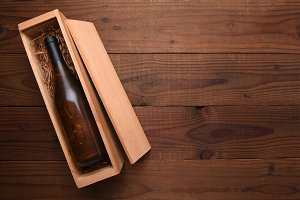 Bottle of Chardonnay wine wood box