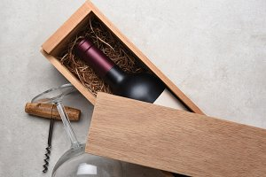 Cabernet in a wood box