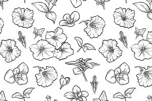Vector petunya seamless pattern