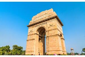 The India Gate, a war memorial in New Delhi, India