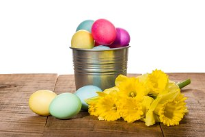 Silver can of Easter eggs