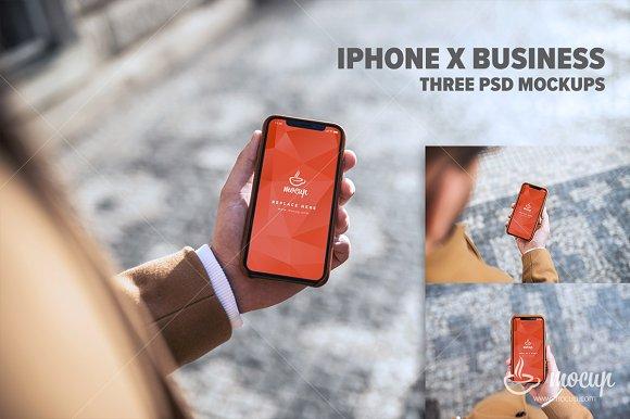 3 PSD Mockups IPhone X Business
