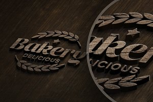 Wooden logo Mock-up